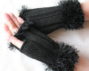 Fingerless Gloves Mittens Black Arm Warmers Knit, Acrylic