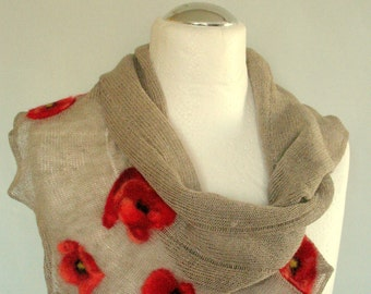 Linen Scarf Natural Gray Infinity Scarf Cowl Wrap Red Poppy Felted Wool