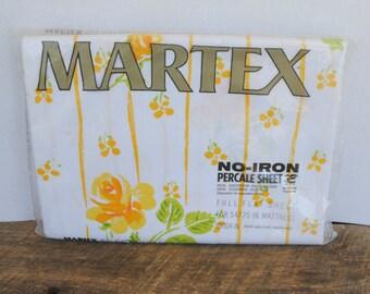 Vintage Martex Full Flat Sheet Yellow/Golden Flowers No Iron Percale Sheet 81x104 Westpoint Pepperell USA Made