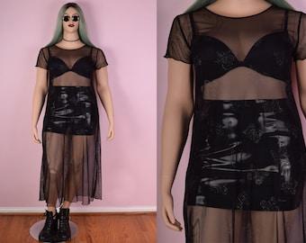 90s Butterfly Print Mesh Maxi Dress/ XL/ 1990s/ Sheer/ Fishnet/ Clubkid/ Black/ Glitter