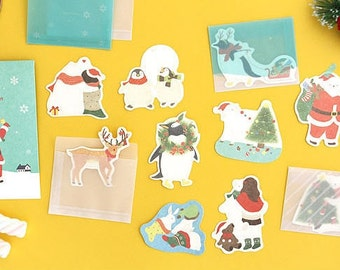 Kawaii Mini Christmas Cards Envelope Set (10 cards + 10 envelopes + stickers)