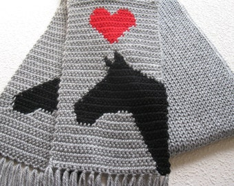 Gray Horse Scarf.  Grey knit and crochet scarf, with horses and red hearts.  Equestrian accessory