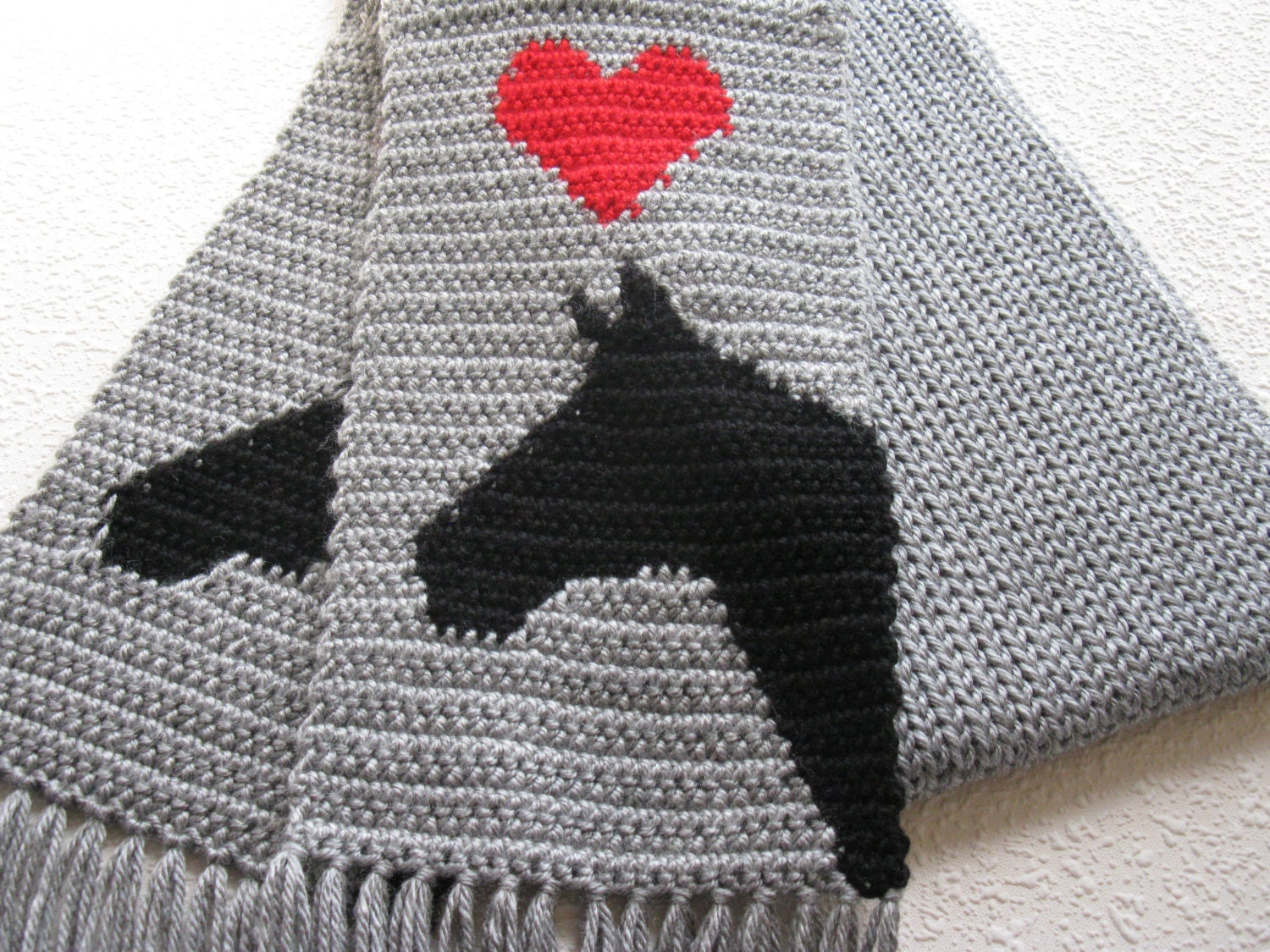 Gray Horse Scarf. Grey knit and crochet scarf with horses