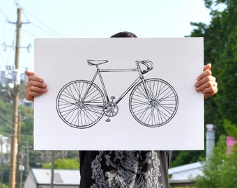 Bicycle Art Print - Black Road Bike Wall Art