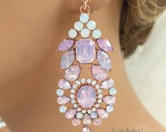 Bridal jewelry, Bridal earrings, Wedding jewelry, wedding earrings, Rose gold crystal earrings, Rose quartz earrings,  Pink evening earrings