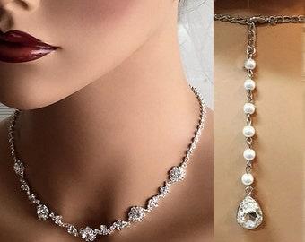 Wedding jewelry set, crystal choker, bridal jewelry set, Bridal necklace earrings, bridal bracelet, bridesmaid jewelry, backdrop necklace