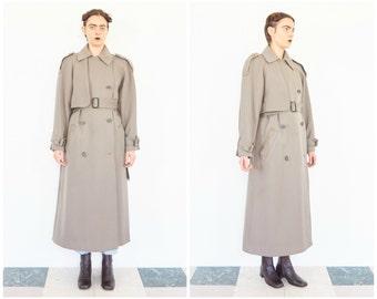80s Calvin Klein Structured Wool Trench Coat