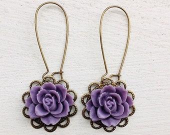 Romantic Rose Earrings/Purple Earrings/Lavender Earrings/Lilac Earrings/Rustic wedding Earrings/Bridesmaid Earrings/Gifts For Her