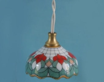 Dolls House Miniature Porcelain Floral Tiffany Light