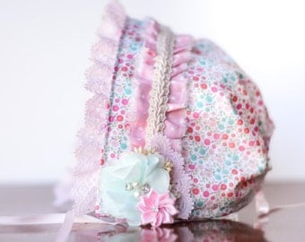 Baby Bonnet - Ivory and Pink Newborn Photo Prop - Vintage Inspired Prop - Calico Baby Hat - Newborn Bonnet
