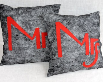 """Decorative Pillow Cases, Set of Two Black-White fabric Throw pillow cases with Red """"Mrs"""" and """"Mr""""accent, 18""""x18"""",  Cushion case."""