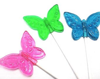 12 BUTTERFLY LOLLIPOPS - Any Color and Flavor