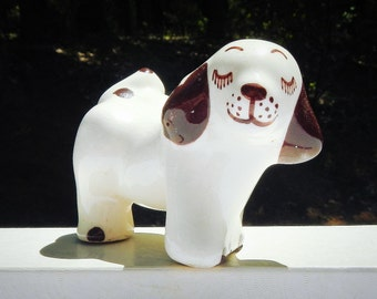 Cute Puppy White and Brown Vintage Ceramic Peeing and Standing on Three Legs