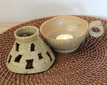 Pottery Candle Holder, Handmade Ceramic Lamp, Ceramic Candle Holder, Candle Keeper