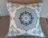 Two 20 x 20  Designer Decorative Pillow Covers - Large Medallion - Blue/White/Grey/Navy