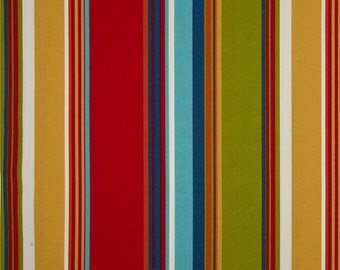 One Custom Twin Size Mattress Cover  Indoor/Outdoor -  Stripes - Blue Teal Orange Green Red