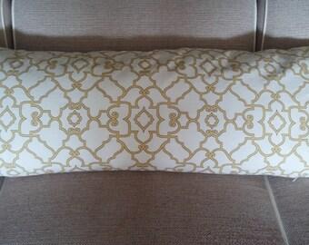 One Body Pillow Cover  -   Trellis - Yellow/Cream