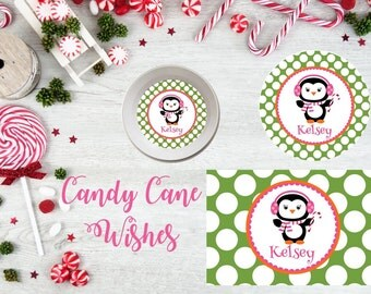 Christmas Penquin Plate/Bowl/Placemat . Christmas Plate . Candy Cane Plate . Penquin Plate . Personalized Christmas