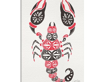 iCanvas Grey Pink Scorpion Artprint Gallery Wrapped Canvas Art Print by Cat Coquillette