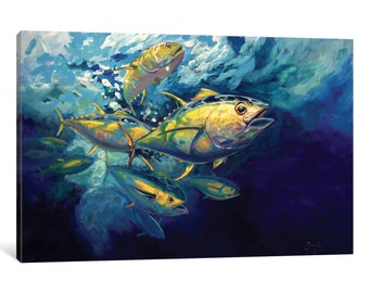 iCanvas Yellowfins Gallery Wrapped Canvas Art Print by Mike Savlen