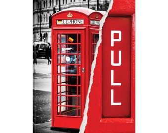 iCanvas Dual Torn Series - Red Phone Booth Gallery Wrapped Canvas Art Print by Philippe Hugonnard
