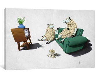 iCanvas Sheep II Gallery Wrapped Canvas Art Print by Rob Snow
