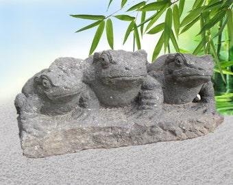 Rare Antique Stone Carving Japanese Garden Kaeru Frogs Trio