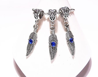3 Sapphire Blue Crystal, Large Feather Pendants or Dangle Charms,  European Beads,  Bracelet Charms, Tibetan Silver, Large Bail