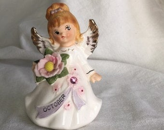 Lefton October angel fairy with birthstone and banner, label 6224
