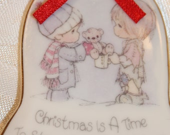 Precious Moments Bell Shaped Christmas Ornament 1986 - Porcelain Ornament