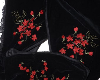 Antique Victorian long black velvet scarf stole embroidered embellished red flower floral detail
