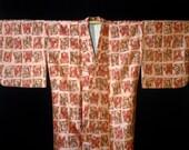 Vintage Mod Meisen Silk Japanese Kimono - Peachy Pink w/ Red / Brown / Gray / Peach Abstract Pattern.