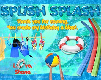 Swimming Pool Thank you Card, Pool Party Thank you, Birthday Card
