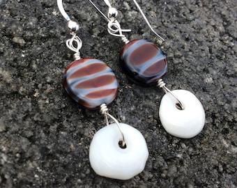 Hawaiian Puka Shell, Stripped Rondelle, Sterling Silver Earrings