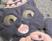 RESERVED for Paul Antique German Paper Black Cat with Stand / Halloween black cat with teeth / Pressed paper die cut cat /