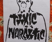 toxic narcotic sew on gas mask figure back patch