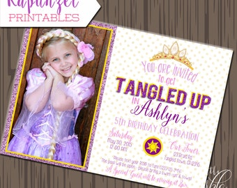 Tangled inspired Favor tags, Printable Tangled inspired invitation, Princess in the tower invitation, Rapunzel invitation