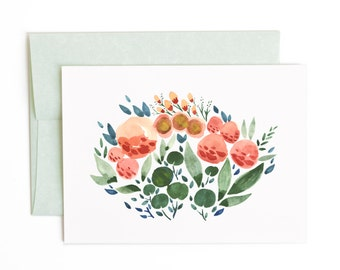 Floral No. 2 Greeting Card, Watercolor Flowers and Leaves Garden A6 Notecard
