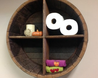 Wine barrel end display shelf