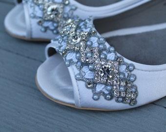 SALE - size 7 Ivory Downton Abbey Bridal Peep Toe Ballet Flats