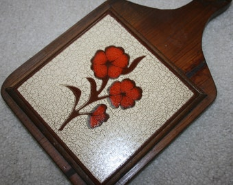 Vintage Tile Trivet Wood Frame Hanger Orange Flower Brown Retro Kitsch Mid Century