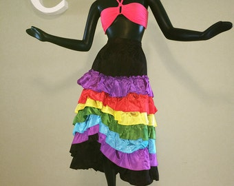 Vintage Carmen Miranda Costume Skirt Taffeta Ruffle Tiered Ruffles Colorful Gay Rainbow Stripe Striped Halloween Party Dress Size Small