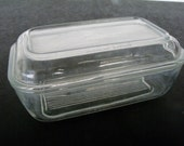 Glass Refrigerator Dish with Lid Arcoroc France Butter Cheese Vintage Storage