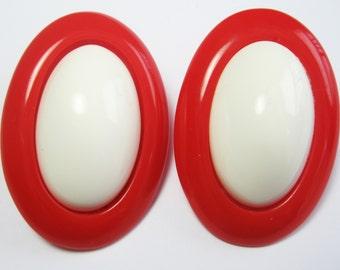 Lucite Earrings Plastic Earrings - Large Vintage Earrings - Plastic Earrings - Rockabilly - 1950's - Red and White Earrings - Posts
