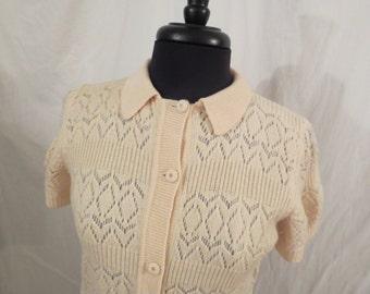 DREAMY CREAM virgin wool cardigan sweater knit top - sz M L