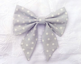 grey white polka dot hair bow with tails, large polka dot hair bow, baby teen adult bow, fabric bow clip, large hair bow clip, hair bow