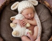 READY TO SHIP Baby Lamb Hat - Baby Boy Hat - Baby Gril Hat Textured Cream Cap with Tan Trim