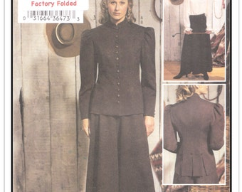 """BUTTERICK Pattern 3836 - Misses' """"Making History"""" Riding Outfit - Jacket - Culottes - Blouse - Uncut/FF - Sz 12-14-16 - From 2003"""