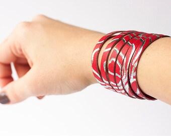 Leather Bracelet / Original Sliced Cuff / Frozen Cherry