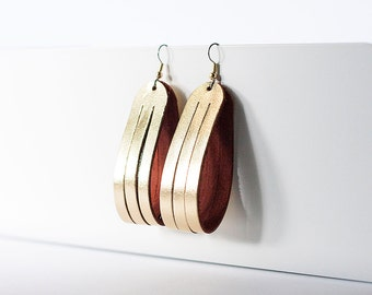 Leather Earrings / Sliced Leather / Metallic Gold